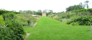 The perennial flower beds.