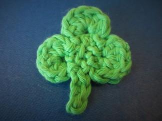 crocheted shamrock, Yeats, Geldof, pride
