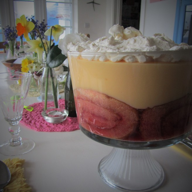 Jelly and custard trifle