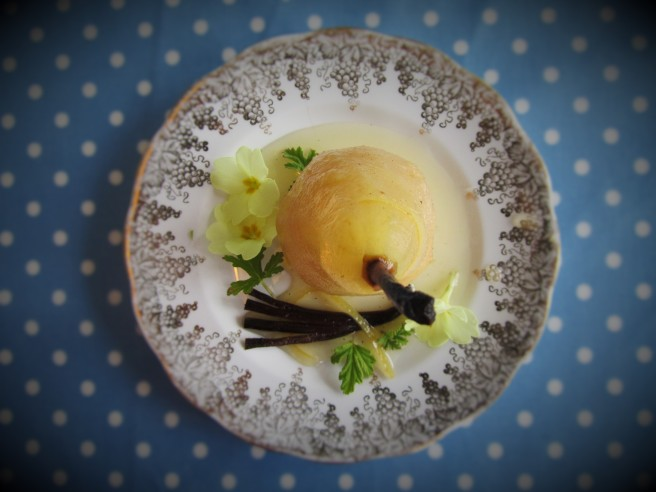 Poached pear. The Improbability Of Love. Hannah Rothschild. First dates.
