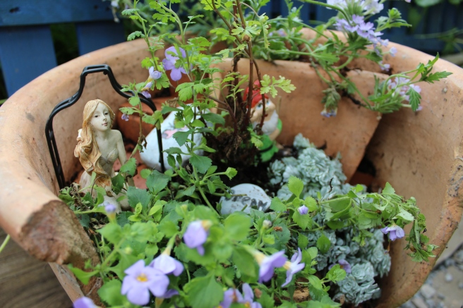 fairy garden in terracotta pot