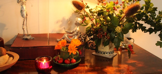 Hall table, autumn display and nature table.