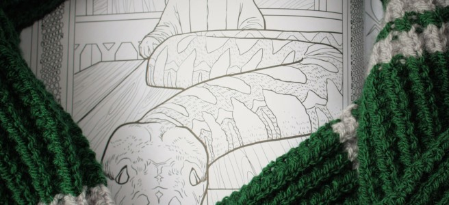 Knitting pattern for Slytherin scarf.