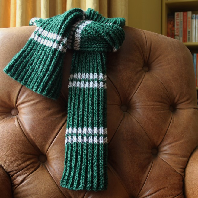 Slytherin scarf with knitting pattern.