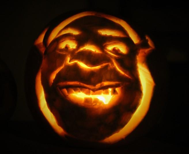 Shrek Carved pumpkin for Halloween.