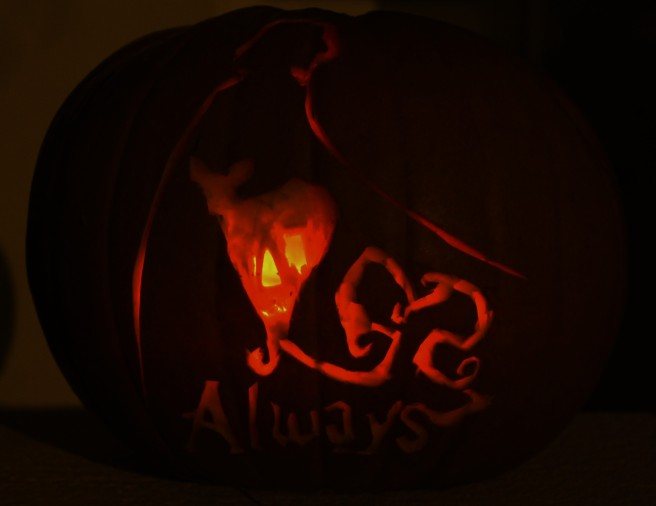 ALways. Professor Snape Carved pumpkin for Halloween.