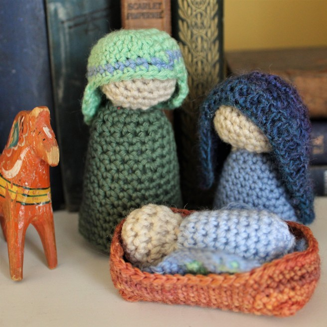 Crocheted nativity scene.