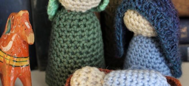 Crocheted nativity scene.