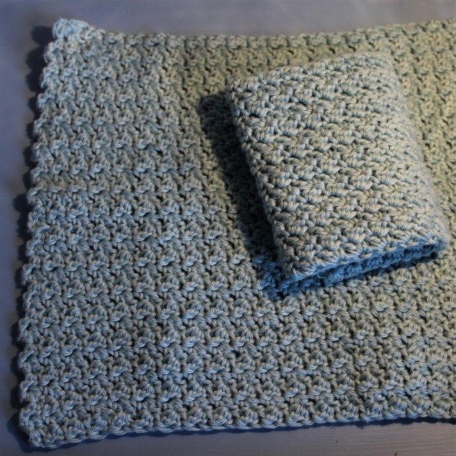 crocheted cotton dk facecloth.
