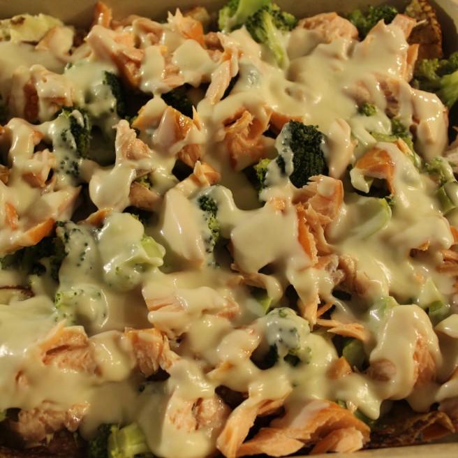 pancake lasagne with salmon and broccoli