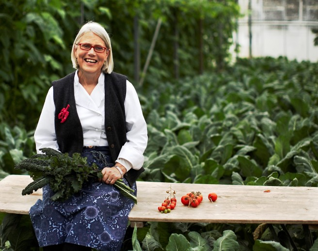 Darina Allen with kale. Credit. Kristin Perers.