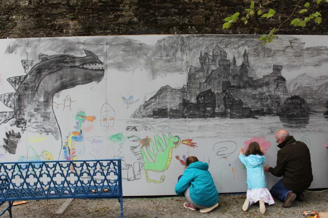 Adding a final flourish to PJ Lynch's art at Lismore Castle.
