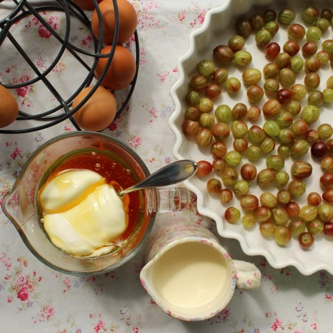 Ingredients for gooseberry clafoutis.